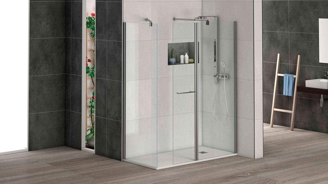 Mampara de ducha puerta abatible para acoplar a panel fijo con cristal transparente templado de seguridad de 6mm modelo Bricodomo Cadiz ANCHO 50