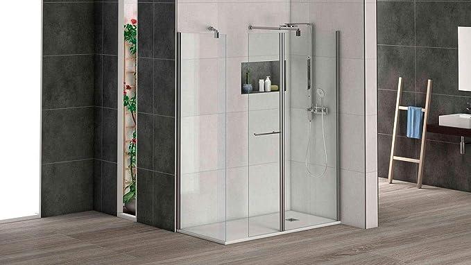 Mampara de ducha puerta abatible para acoplar a panel fijo con ...