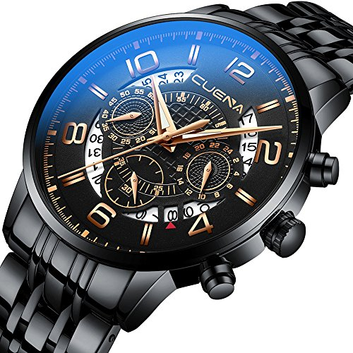2018 Brand New Classic Black Waterproof Watch Men's Sport Wrist Watches with Chronograph Feature