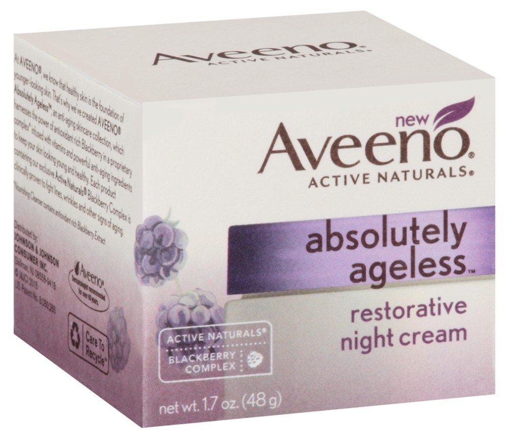 Aveeno Absolutely Ageless Restorative Night Cream Facial Moisturizer with Antioxidant-Rich Blackberry Complex, Vitamin C & E, Hypoallergenic, Non-Greasy & Non-Comedogenic, 1.7 fl. oz (Pack of 2)