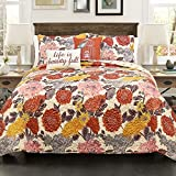 Lush Decor Lush Décor Agnes 5 Piece Quilt Set, Full/Queen, Tangerine