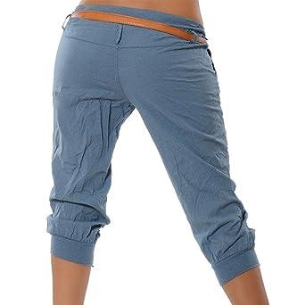 ShallGood Pantalones Capri para Mujer Pantalones Baggy Moda Color Sólido  Chino Casual Shorts 3 4 Boyfriend Cintura Elástica Yoga Pantalones Cortos   ... a8741ed9ae48