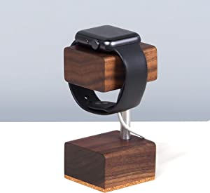 Walnut Solid Wood Apple Watch Charging Stand - Compatible with Series 5, Series 4, Series 3, Series 2, Series 1 (Apple Watch Stand AWS02)