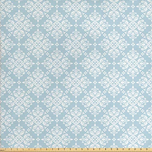 Lunarable Vintage Fabric by The Yard, Baroque Medieval Inspired Pattern with Swirles and Flowers Design, Decorative Fabric for Upholstery and Home Accents, 1 Yard, Baby Blue - Fabric Upholstery Vintage