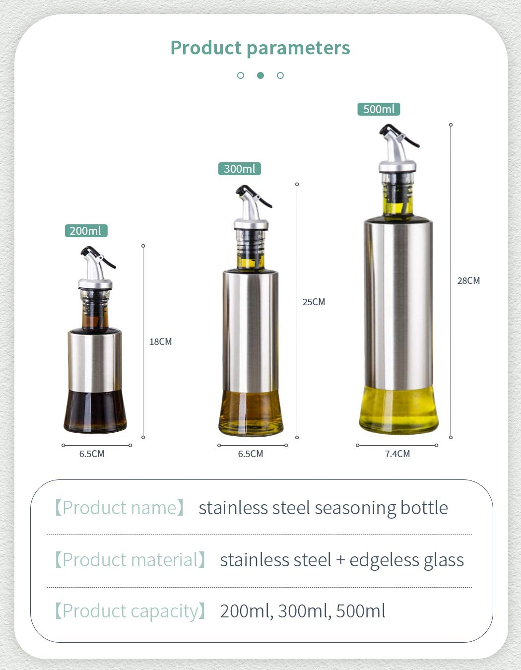 Stainless Steel//Glass for Kitchen with Funnel 3-Pack Cooking Oil and Vinegar Dispenser Bottle Set