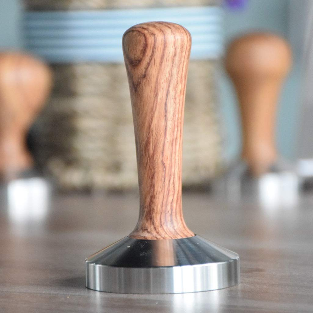 QIULAO Coffee Tamper Coffee Maker Powder Press Stainless Steel Wooden Handle Coffee Dispenser//Leveling Tool Size : 49mm Flat Bottom Diameter 49//51//53//57//58MM