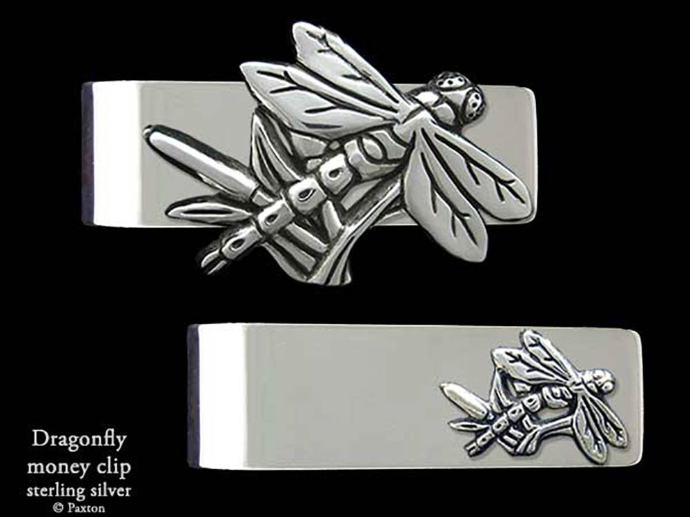 Dragonfly Money Clip in Solid Sterling Silver Hand Carved, Cast & Fabricated by Paxton