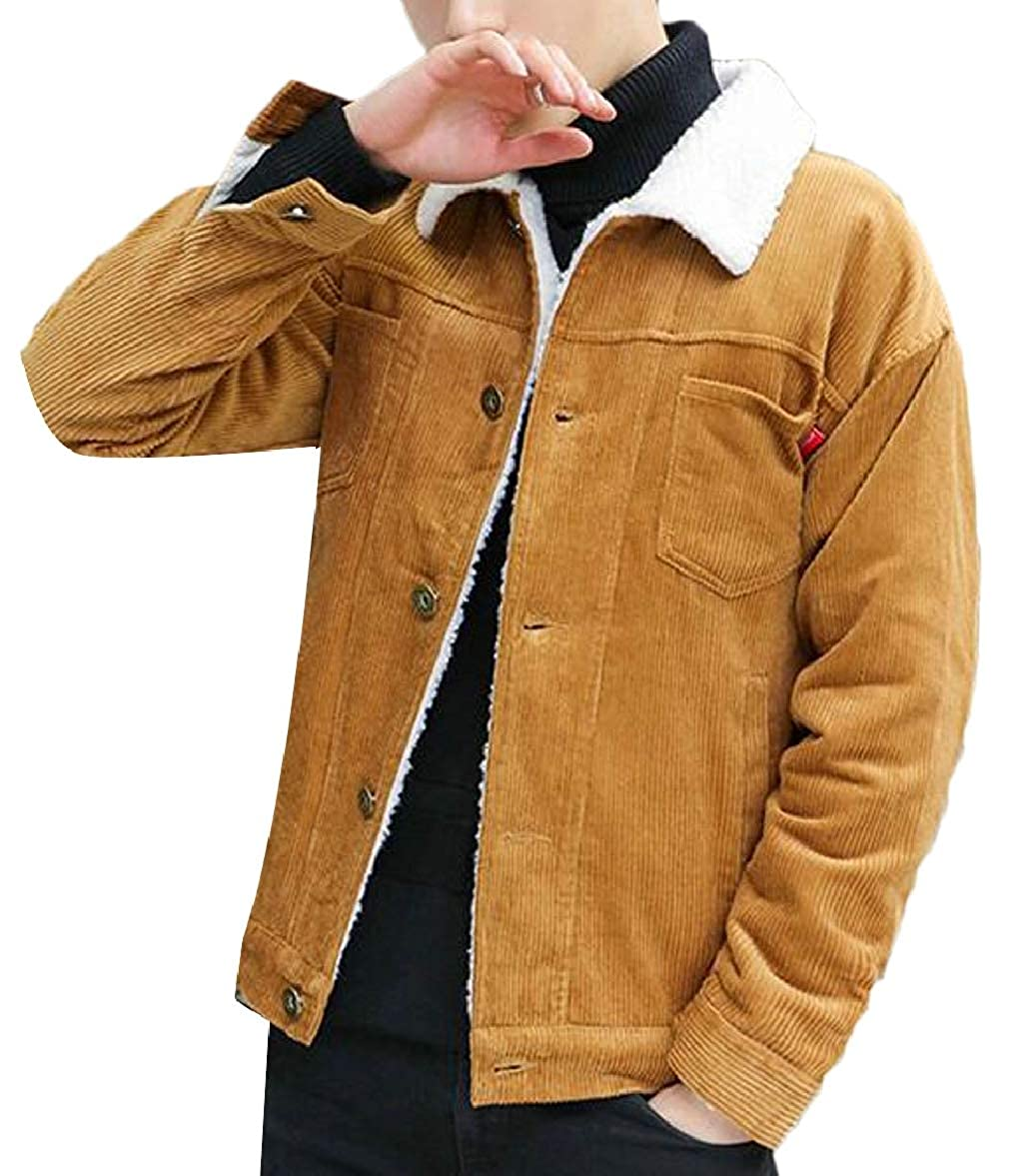 Men Sherpa Lined Trucker Jacket Slim Corduroy Warm Button Down Jacket