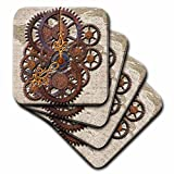 3dRose cst_108102_2 Steam Punk Cog Wheels in Bronze Soft Coasters, Set of 8