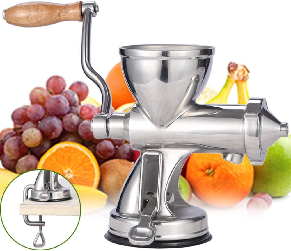 Moongiantgo Manual Wheatgrass Juicer Extractor Stainless Steel Manual Juicer for Juicing Wheat Grass Celery Kale Spinach Parsley Pomegranate Apple Grapes Fruit Vegetable (Suction Cup Base)