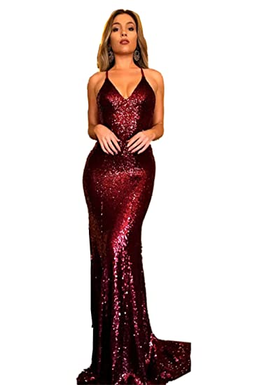 Promworld Womens Backless Sequin Sexy Mermaid Prom Dresses Long Burgundy US2