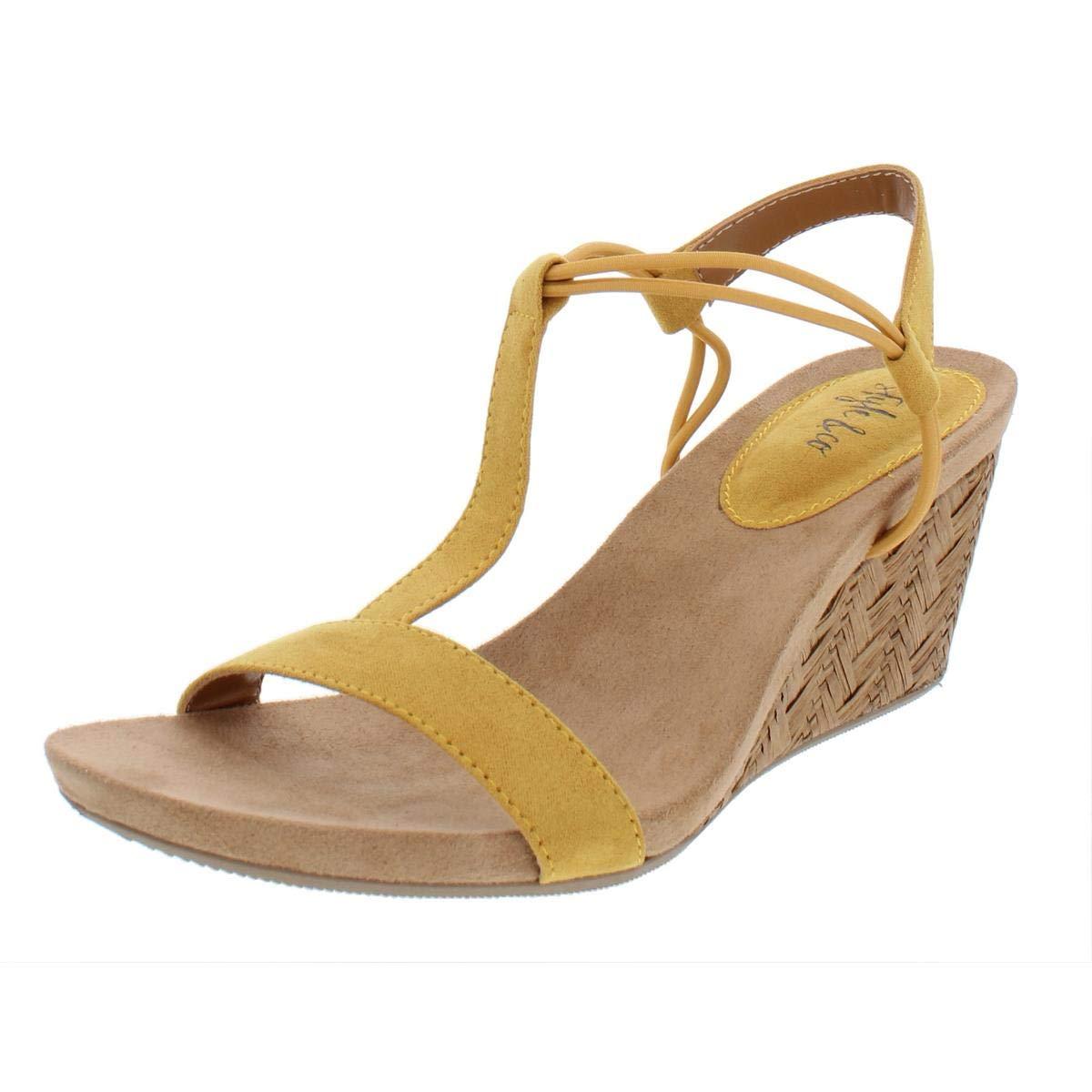 d06b488dd3 Womens Mulan Faux Suede Wedges T-Strap Sandals Yellow 5 Medium (B, M)    Heeled Sandals