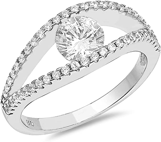 CloseoutWarehouse Clear Baguette Cubic Zirconia Center Ring Sterling Silver
