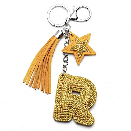 Womens Love Heart Flower Letter Keychain Women Crystal Key Ring Handbag  Pendant Charms Tassel Silver Chain 10f10413d