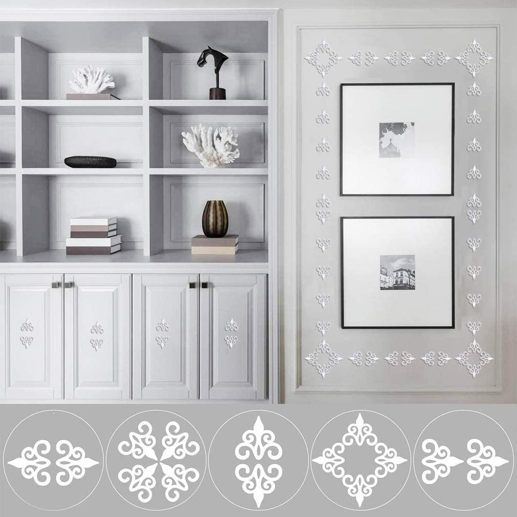 AOSOME 24 Pieces Acrylic Mirror Wall Stickers Removable Hollow Mirror Wall Decals Self Adhesive Mirrors Stickers DIY Art Mural Wall Decorations for Home Silver