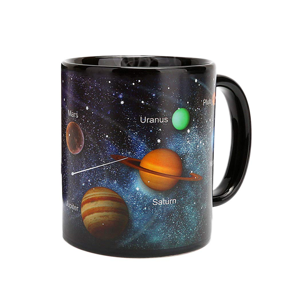 BESTONZON Ceramic Mug Color Changing Solar System Heat Sensitive Drinking Cup for Hot Water Milk Tea Coffee Drinks 330ml