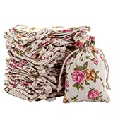 handrong 50pcs Burlap Bags with Drawstring Gift Pouches Rose Flower Jewelry Storage Package Sack for Wedding Bridal Shower Birthday Party Christmas Valentine's Day Favors DIY Craft, 5.5x3.8 inch