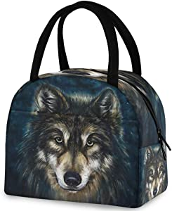 ZzWwR Wolf Head Digital Painting Reusable Lunch Tote Bag with Front Pocket Zipper Closure Insulated Thermal Cooler Container Bag for Work Picnic Travel Beach Fishing
