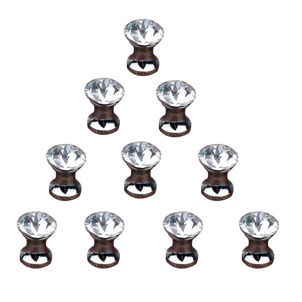 10 Pcs Crystal Cabinet Drawer Mini Metal Jewelry Box Gift Case Knobs Single Hole Pull Handles