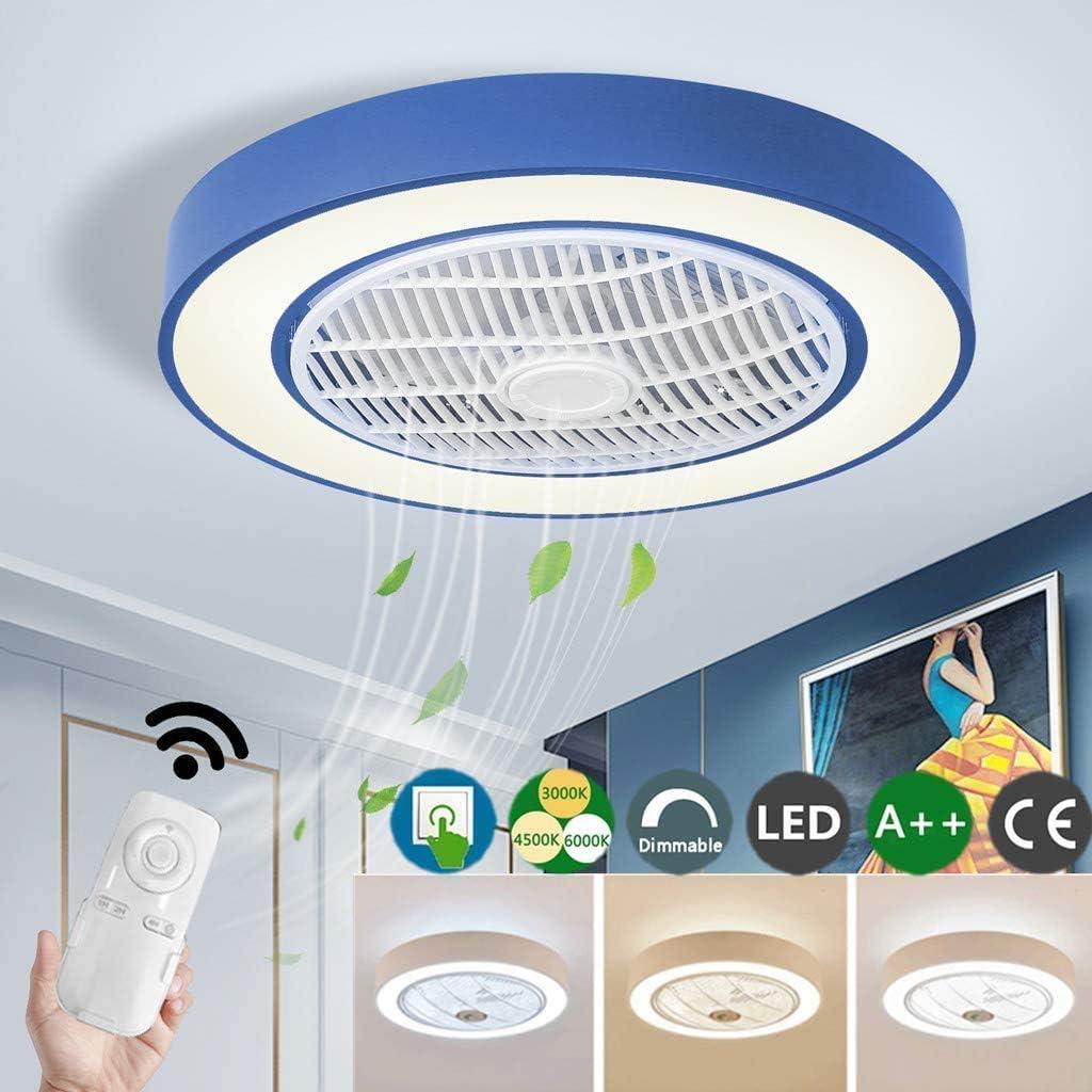 Dimmer LED Ventilador Luz Ventilador De Techo De Aluminio Del Techo Luz Dormitorio Contemporáneo Pantalla De Acrílico Ventilador De Sala De Estar Con Control Remoto Ajustable Suave 55CM (40W),Azul