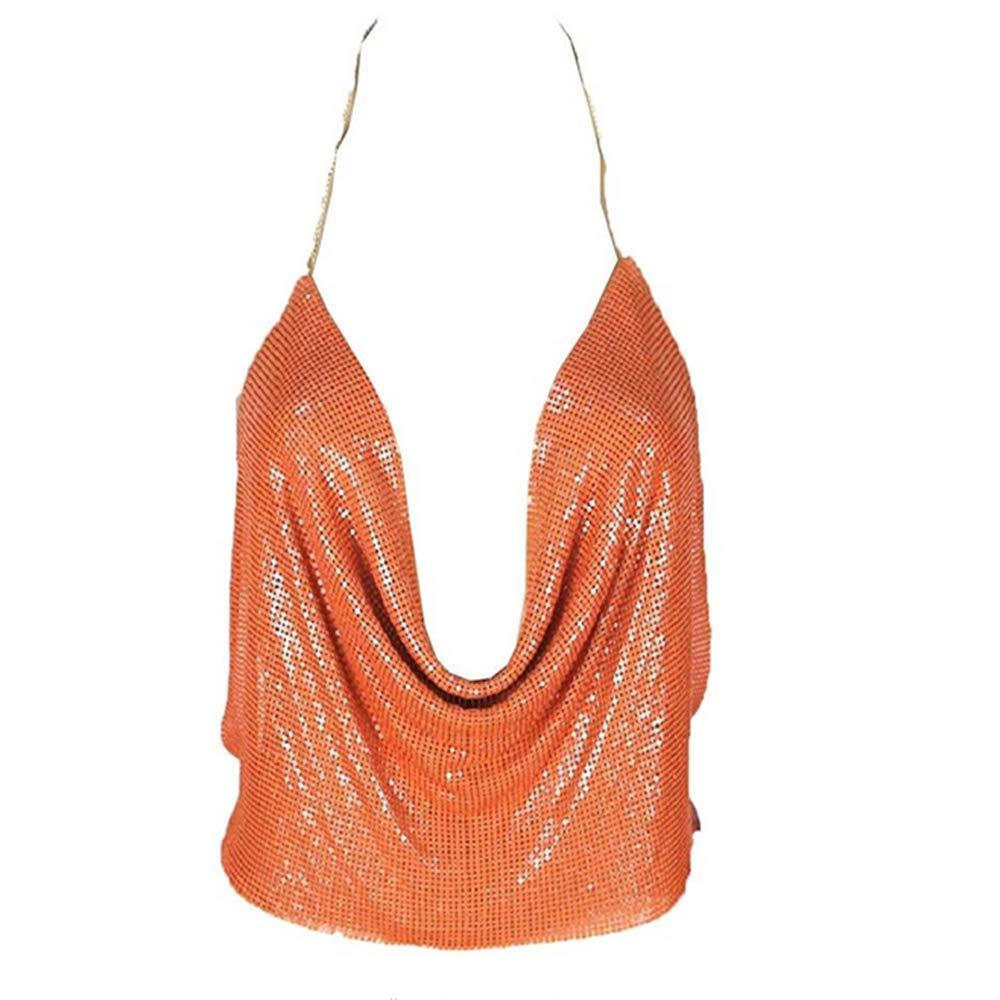 Hot Vest! VANSOON Women Sexy V-Neck Halter Backless Chain Sequined Tank Vest Bralette Crop Tops Cami T-Shirt Orange