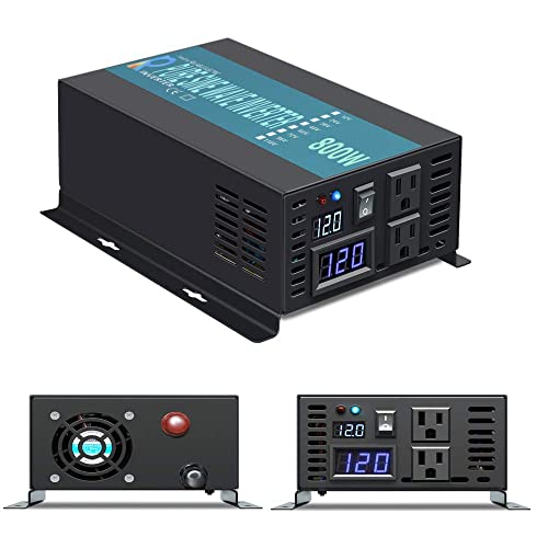 WZRELB Reliable Power Inverter 800w 1600w Peak Pure Sine Wave Inverter 12v 120v 60hz LED Display