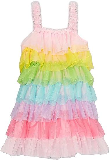 b466dc4d4 Amazon.com  wenchoice Girl s Rainbow Ruffle Dress  Clothing