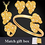 GDSTAR Gold Wedding Accessories '18K' Gold Plated Rhinestone Crystal Leaf Earrings Necklace Bracelet Ring Bridal Jewelry Sets