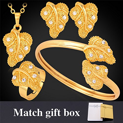 GDSTAR Gold Wedding Accessories '18K' Gold Plated Rhinestone Crystal Leaf Earrings Necklace Bracelet Ring Bridal Jewelry Sets by GDSTAR_Muslim_Jewelry