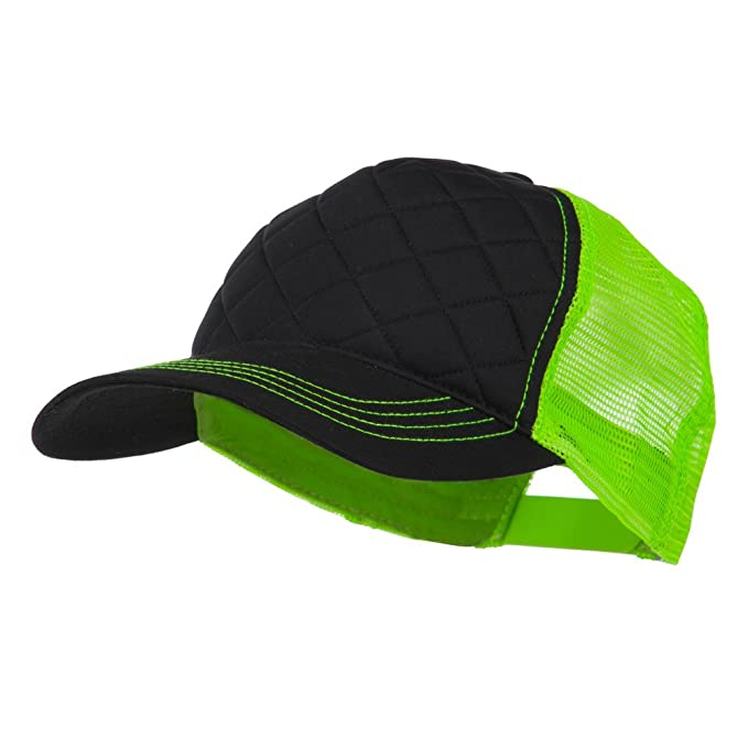 af275ce578c Fashion Quilted Trucker Two Tone Neon Mesh Cap - Black Neon Green OSFM