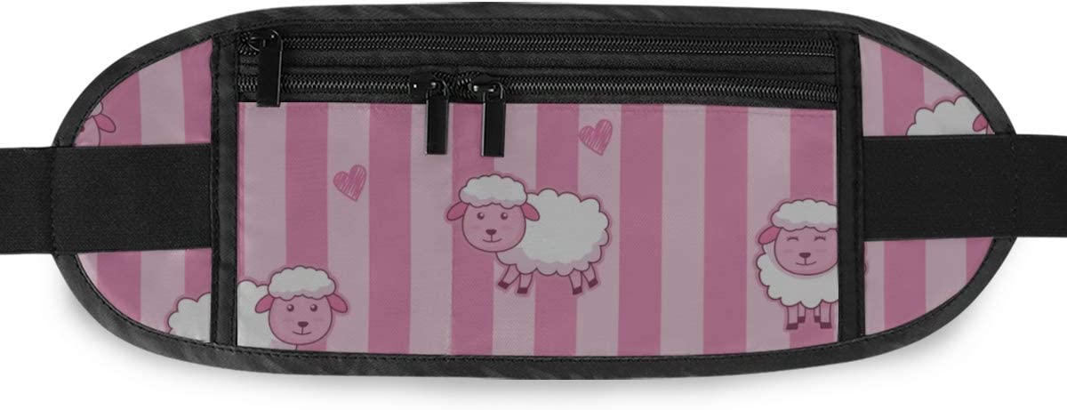 Cute Pink Sheep Running Lumbar Pack For Travel Outdoor Sports Walking Travel Waist Pack,travel Pocket With Adjustable Belt