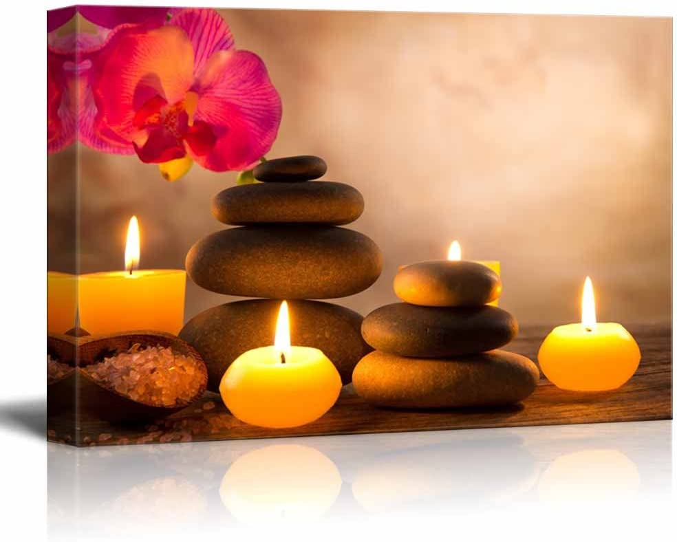 Canvas Prints Wall Art - Spa Still Life with Aromatic Candles and Zen Stones | Modern Wall Decor/Home Decoration Stretched Gallery Canvas Wrap Giclee Print & Ready to Hang - 32