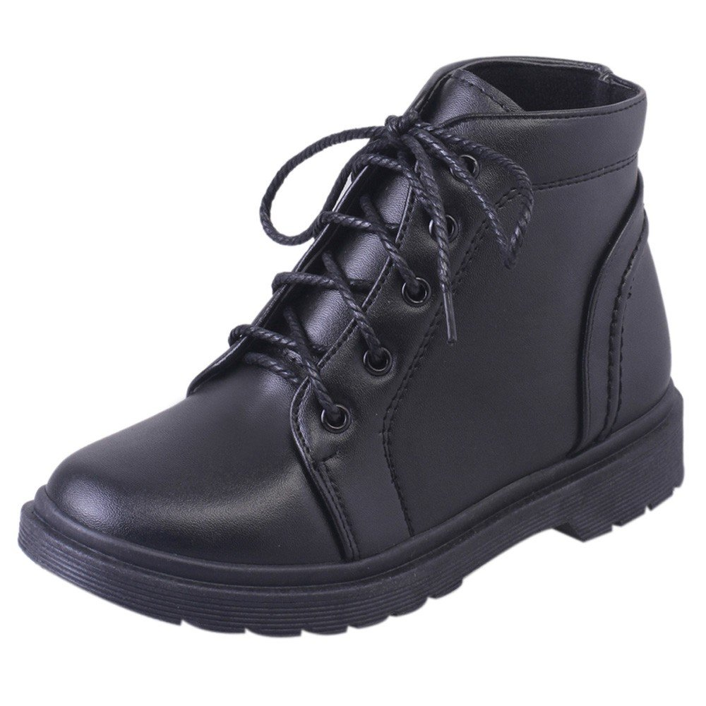 Fashion Student Thick Heel Shoes Martin Boots Women's Shoes Thick Short Boots (Black, 36)