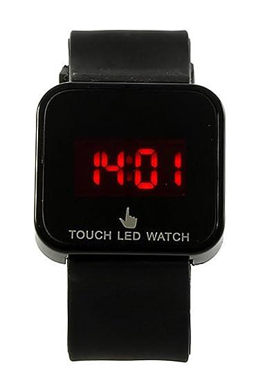 Reloj de mujer - SODIAL(R)Colorido unisexo LED Digital pantalla tactil Reloj de pulsera de silicona Negro: Amazon.es: Relojes