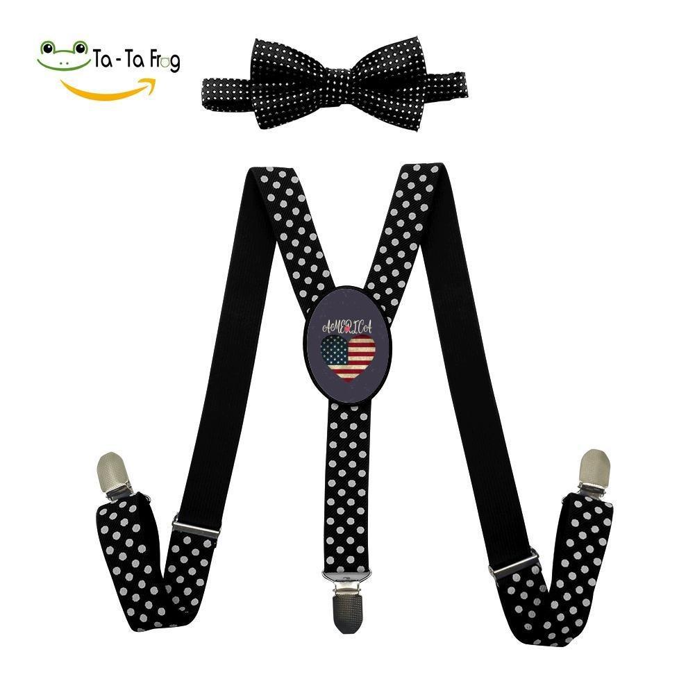 Xiacai I Love America Suspender&Bow Tie Set Adjustable Clip-On Y-Suspender Children