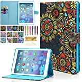iPad Mini Case - Mini 2 3 Case - Dteck Slim Fit Folio Leather Stand Case with Auto Sleep Wake Function Card Slots Magnetic Closure Smart Cover for Apple iPad Mini 1 2 3 (Gold Ring Flower)