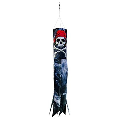 In the Breeze Smokin' Pirate 30 inch Windsock - Printed Hanging Decoration - Outdoor Pirate Décor : Garden & Outdoor