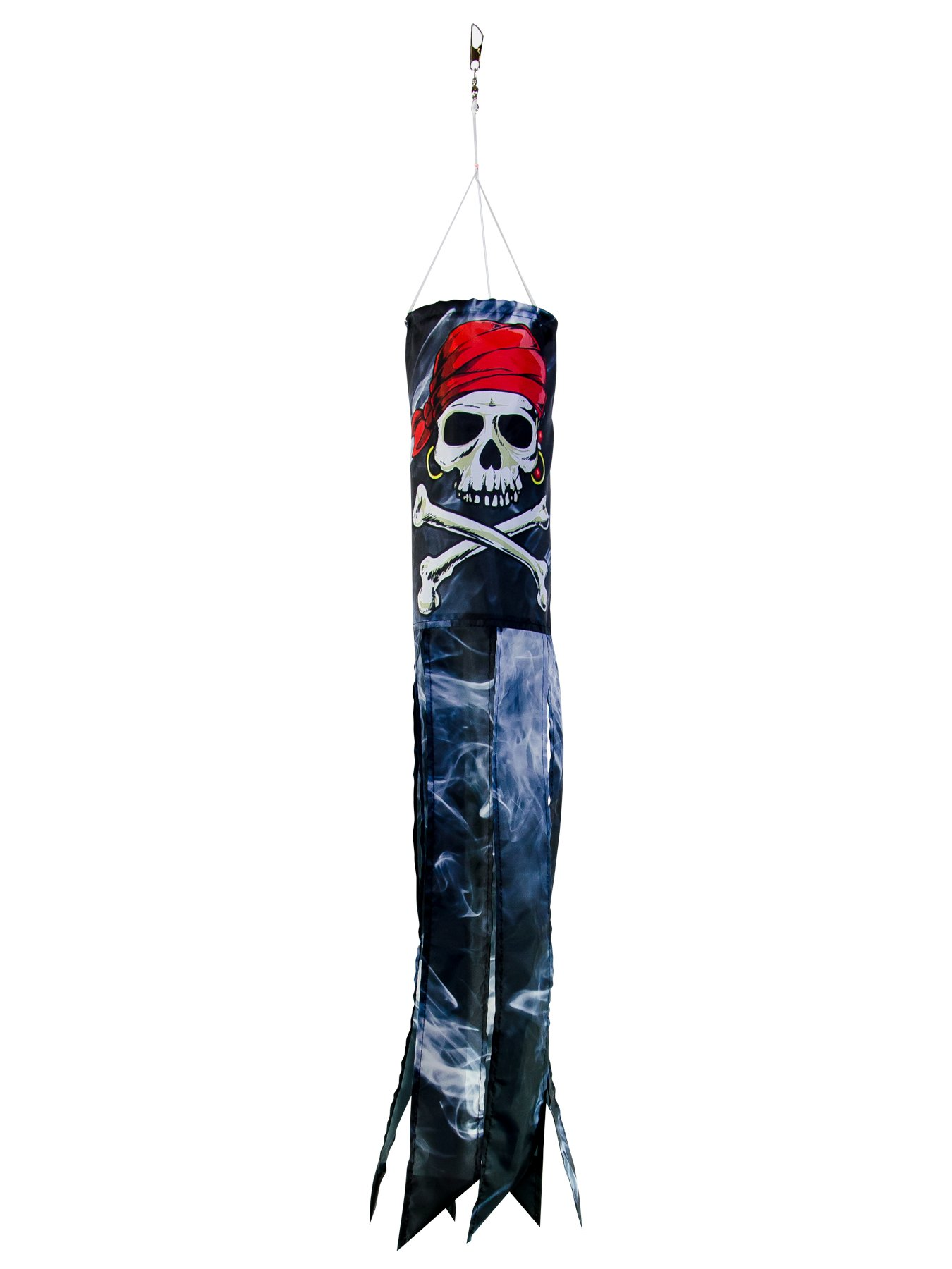 In the Breeze Smokin' Pirate 30 inch Windsock - Printed Hanging Decoration - Outdoor Pirate Décor