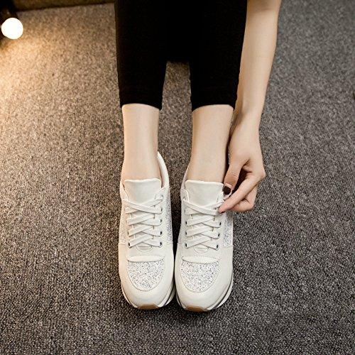 Giy Moda Donna Sneaker Punta Arrotondata Maggiore Altezza Zeppa Piattaforma Stringate Scarpe Casual Bianche