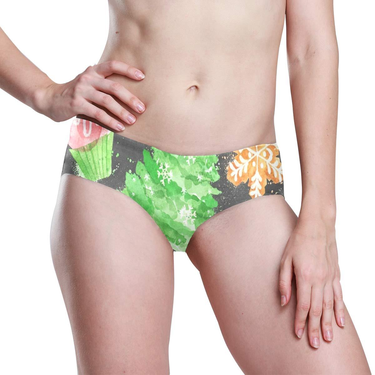 Watercolor Christmas Symbols Womens Invisibles Seamless No Show Panty Line Bikini Laies Panties