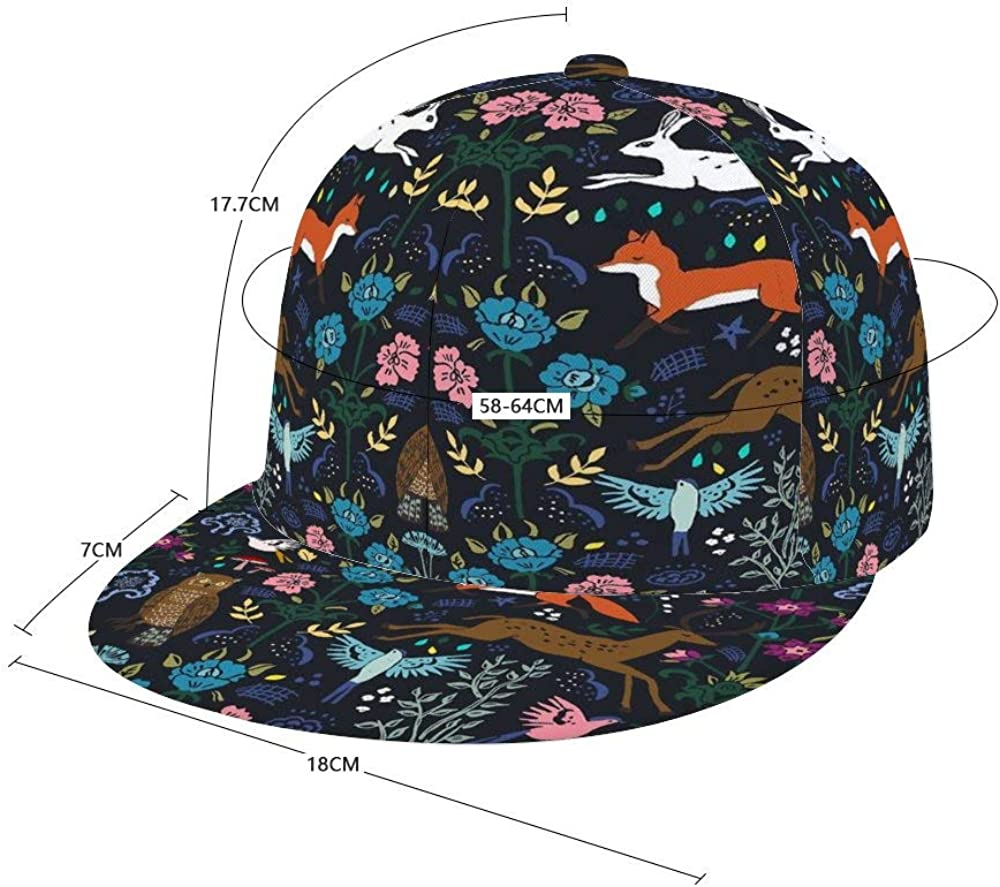 Dongi Mystic Forest Unisex Full-Print Flat Rubber Ball Cap can Adjust Hip-hop Style