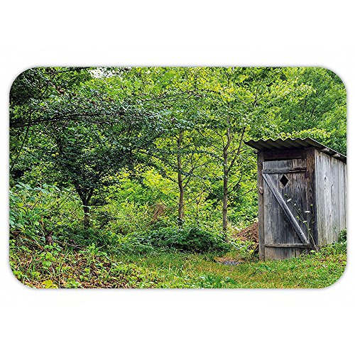 Outhouse Halloween Costumes (Kisscase Custom Door MatOuthouse Old Ancient Cottage Outhouse in a Spring Mountian Forest WoodImage Fern Green and Brown)