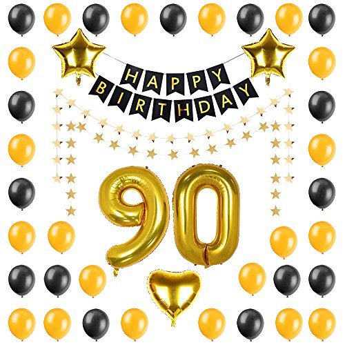 PALASASA Birthday Party Decorations Kit-Happy Birthday Banner,Gold 90 Foil Balloon, Five star and heart balloon, Latex Balloon,Five star banner, Perfect Party Supplies (90 Years Old)