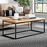 Product review for Solid Wood Coffee Table - Modern Industrial Space Saving Couch Living Room Furniture - Sofa Table, Black Metal Box Frame, Natural Oak Finish