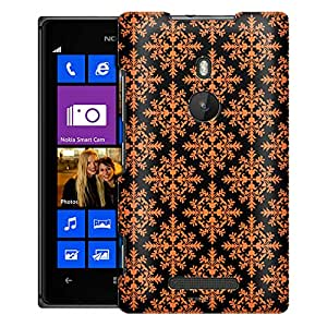 Nokia Lumia 925 Case, Slim Fit Snap On Cover by Trek Victorian Seamless Orange on Black Case