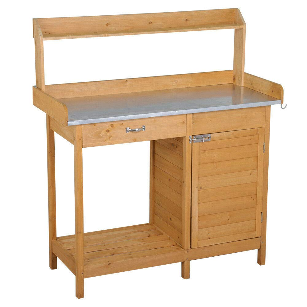 Outdoor Natural Wooden Garden Work Bench Station, Metal Tabletop with Drawer, Cabinet and Open Storage Shelf, Solid Wood Construction Potting Benches for Outside