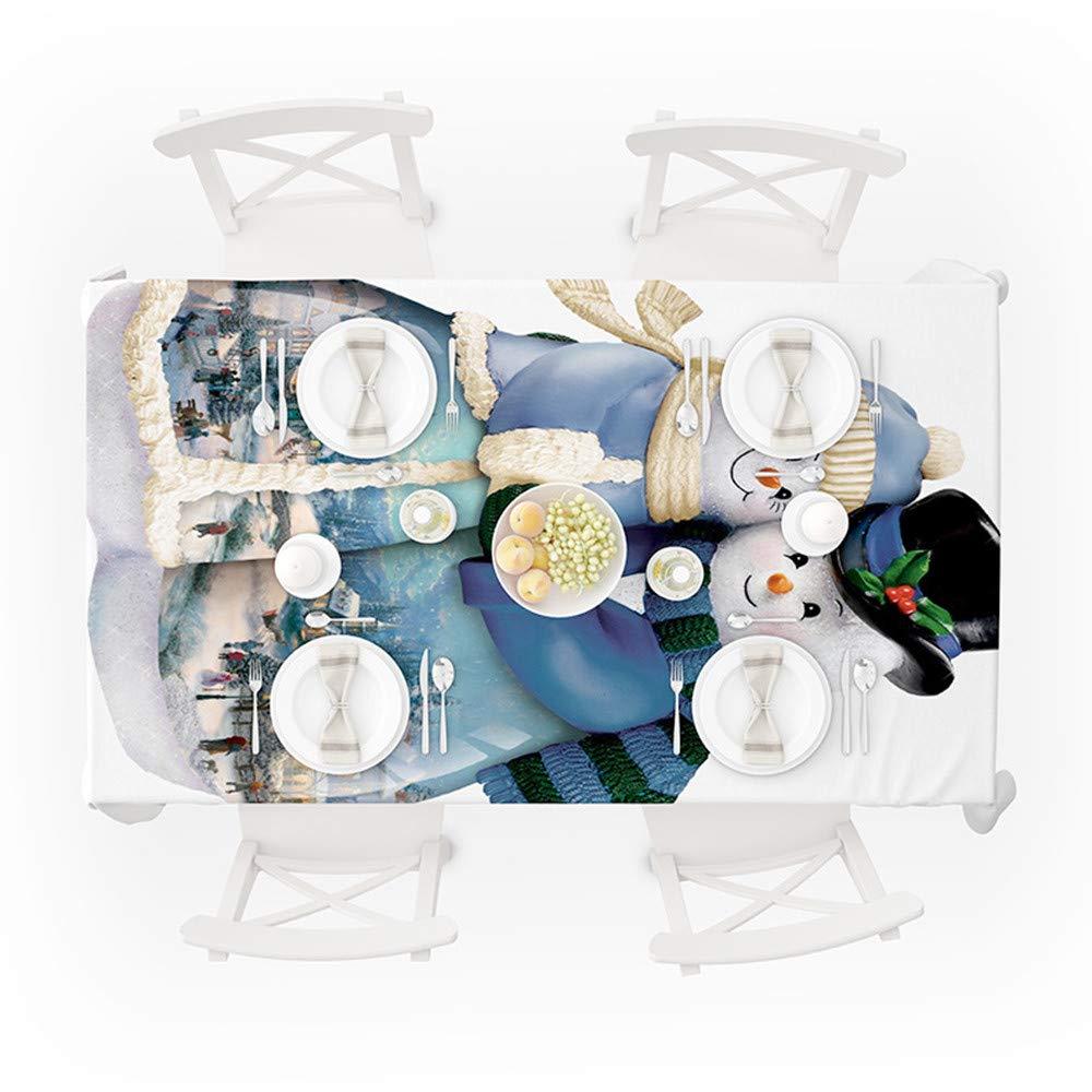 de No/ël de Nappe Rectangle de Imprim/é Couple de Bonhomme de Neige de No/ël Couverture de Table /à Manger D/écoration de F/ête Bleu, 140 * 140cm Solike D/écoration Nappes de Noel