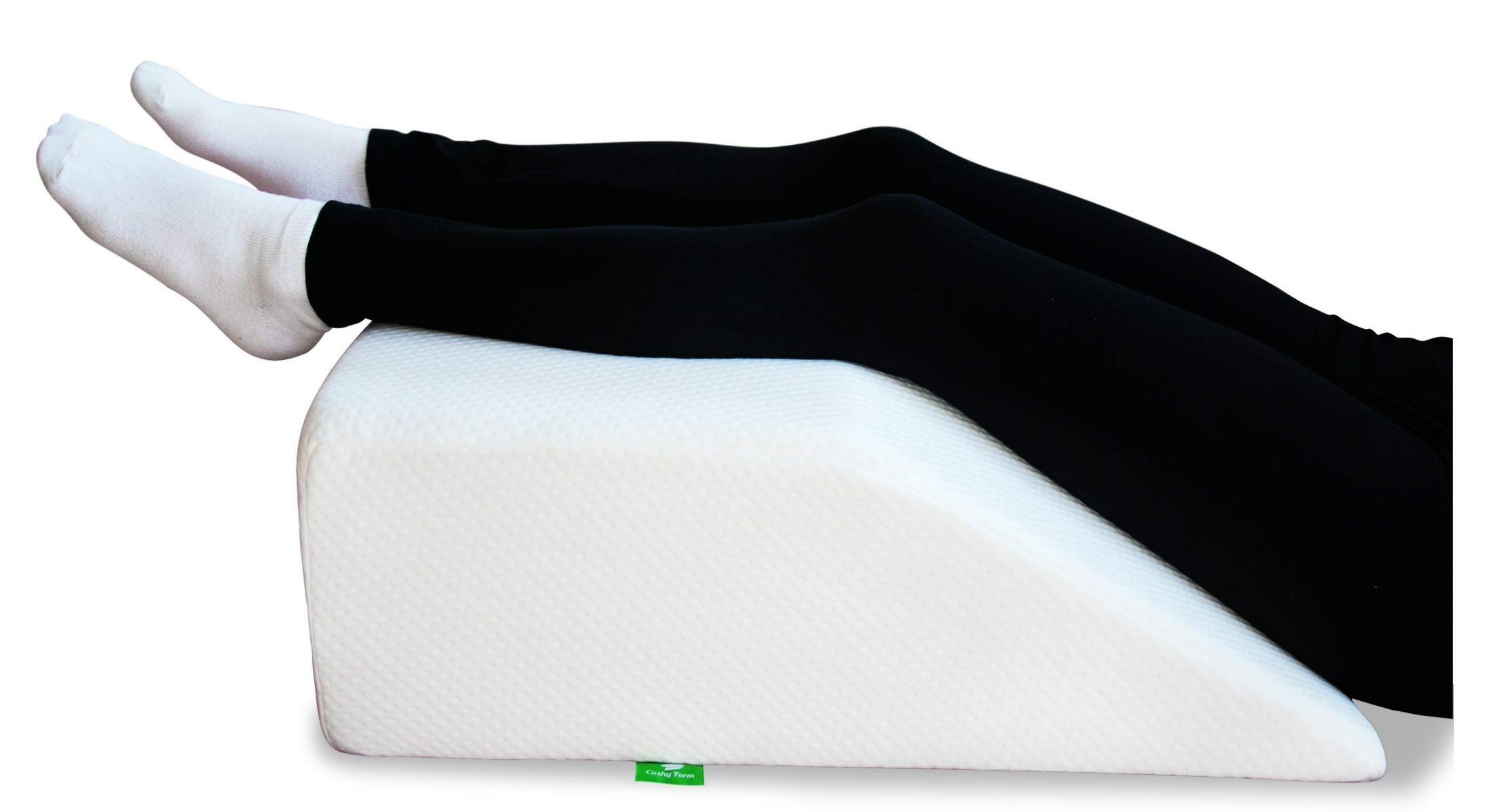Post Surgery Elevating Leg Rest Pillow with Memory Foam Top - Best for Back, Hip and Knee Pain Relief, Foot and Ankle Injury and Recovery Wedge - Breathable and Washable Cover (8 Inch Elevator, White) by Cushy Form