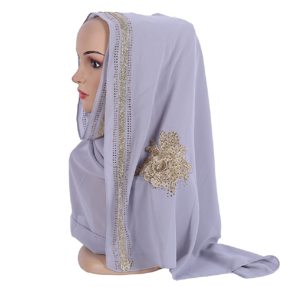 Czech Rhinestones Gold Stamping Pearl Chiffon Islamic Shawl Wedding Hijab Color 7