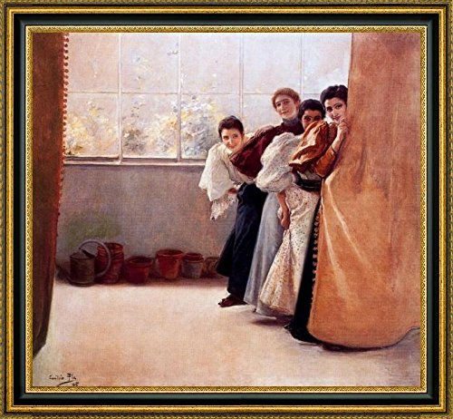 escondidas-by-cecilio-pla-y-gallardo-15-x-15-framed-canvas-art-print-ready-to-hang